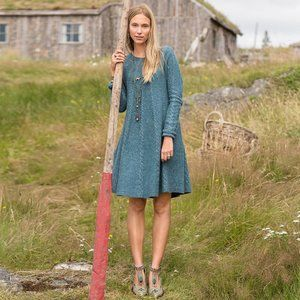 Sundance Blue Speckle Cableknit Lambswool Dress S